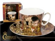 CARMANI Art Collection - Porcelain Cup with saucer decorated with Klimt: The Kiss